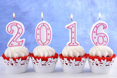 Happy New Year 2016 Cupcakes Stock Image