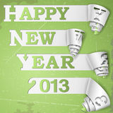 Happy New Year curled strips on grunge paper. Eps10 vector illustration Royalty Free Stock Image