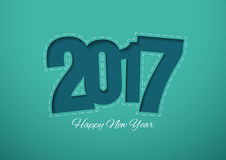 Happy New Year 2017 Cut Paper Background. Vector Illustration Stock Photos