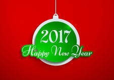 Happy New Year 2017 Cut from Paper on Red Background. Vector Illustration Stock Photo