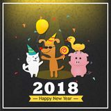 Happy new year with cute animal cat dog pig and duck cute cartoo. N background Stock Image