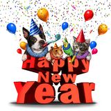 Happy New Year Cute Animals Stock Image