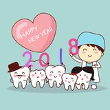 Tooth with new year. Happy new year and cute cartoon dentist with cartoon tooth family vector illustration
