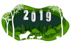 Happy new year 2019 with cute family pig on green paper art background stock photography