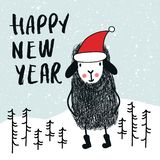 Happy new year - Cute and fun card with sheep in santa hat, decorations and hand drawn lettering. Vector illustration stock illustration