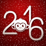 Happy New Year 2016 cute greeting card with funny monkey face Royalty Free Stock Photo