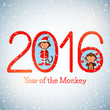 Happy New Year 2016 cute greeting card with funny monkeys Stock Image