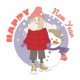 Happy New Year.Cute little girl and snow man.Cartoon illustration stock illustration
