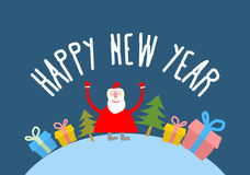 Happy new year. Cute Santa Claus with gift and Christmas tree. V Stock Image