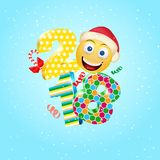 Happy New Year 2018 with a cute smile emoji face with a Santa Claus hat. 3d Smiley Emoji modern design for social networks, the co. Ncept of color for stock illustration