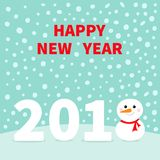 2018 Happy New Year. Cute snowman on snowdrift. Red scarf ,. Carrot nose. Template for greeting card, calendar, presentation, flyer, leaflet postcard and poster Royalty Free Stock Photo