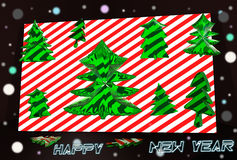 Happy new year 2016 3d. Abstract, glass, semi transparent green christmas trees on white background, red background, postcard, rear a dark background with multi vector illustration