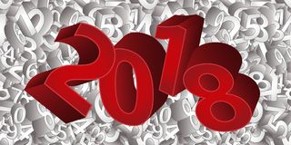 Happy new 2018 year 3D background, vector Stock Photo