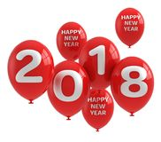 2018 Happy New Year. 3d balloons with text 2018 Royalty Free Stock Image