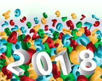 Happy New 2018 year 3D banner, vector Stock Images