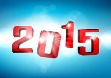 Happy new year 2015. 3d blue 2015 happy new year design. Vector illustration Stock Photography