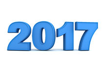Happy new year 2017 3D blue text isolated over white background with reflection and shadow. 3D rendering Royalty Free Stock Images