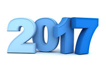 Happy new year 2017 3D blue text isolated over white background with reflection and shadow. 3D rendering Stock Photos
