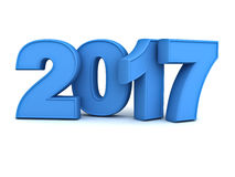 Happy new year 2017 3D blue text over white background with reflection and shadow Stock Photo