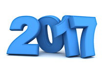 Happy new year 2017 3D blue text Stock Image