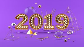 2019 Happy New Year 3D composition with 2019 golden bright numbers. 2019 Happy New Year 3D composition. Abstract simple set with 2019 golden numbers bright royalty free illustration