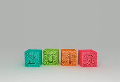 Happy New Year 2015. 3d cubes with number two thousand fifteen Royalty Free Stock Photos