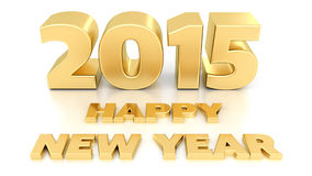 Happy New Year 2015. 3D design. Template on white background stock illustration