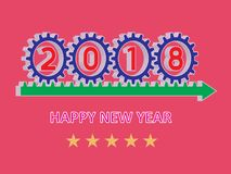 2018 Happy New Year. 3D gear wheel vector. Happy new year 3D design icon set royalty free illustration