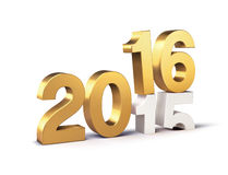 2016 Happy New Year. 3D New Year gold 2016 over 2015  on white Royalty Free Stock Photography