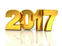 Happy new year 2017 3D gold text Royalty Free Stock Photo