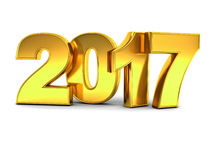 Happy new year 2017 3D gold text concept over white background with reflection and shadow. 3D rendering Royalty Free Stock Image