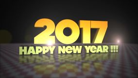 Happy New Year 2017 3D Gold Text stock video