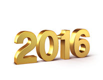 2016 Happy New Year. 3D New Year gold 2016  on white Royalty Free Stock Photos