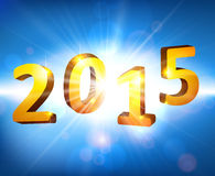 Happy new year 2015. 3d golden 2015 happy new year design. Vector illustration Royalty Free Stock Photo