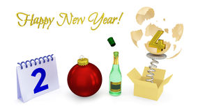 Happy New Year 2014 - 3D Greeting Design Stock Photos