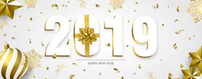 Happy New Year 2019 3d holiday ornament banner vector illustration