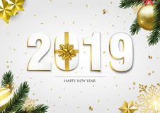 Happy New Year 2019 3d holiday ornament card stock illustration