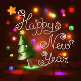 Happy New Year 3d lettering over festive background. Happy New Year 3d lettering over festive light garland illuminated warm background with holiday fur tree Stock Images