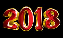 Happy New Year 2018 3D like vector gold text design. With black background Stock Photo