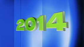 2014 happy new year, 3d loop animation of date 2014 on blue abstract background Stock Images