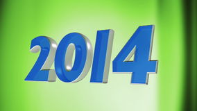 2014 happy new year, 3d loop animation of date 2014 on green loop background Royalty Free Stock Images