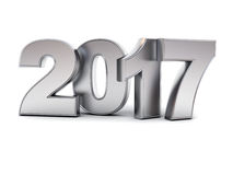 Happy new year 2017 3D metal text Stock Photography