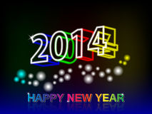Happy new year. 2014 3D with neon and Happy New Year is a reflection on the background gradient black and blue Stock Image