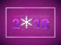 2018 Happy New Year 3D numbers with glowing effect on the purple background with falling snow. Text design with snowflakes. And neon frame light. Banner, poster Royalty Free Stock Image