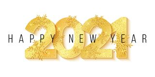 Happy New Year 2021. 3D numbers and golden snowflakes with glitter isolated on white background. Greeting card. Vector