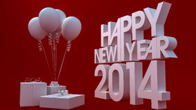 Happy new year 2014. 3d render Royalty Free Stock Image