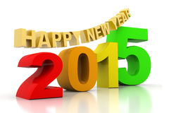 Happy new year 2015. 3d render of Happy new year 2015 Stock Photos