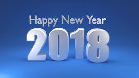 Happy New Year 2018, 3D render. Happy New Year 2018 on blue background, 3D rendering Royalty Free Stock Photos