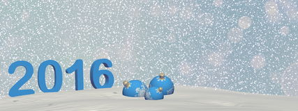 Happy new year 2016 - 3D render. Happy new year 2016 in blue background with snow - 3D render Stock Image
