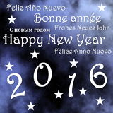 Happy new year 2016 - 3D render. Happy new year 2016, in blue sky background with stars - 3D render Royalty Free Stock Photo